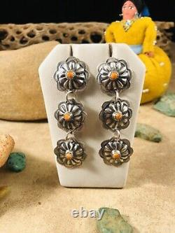Navajo Spiny Oyster & Sterling Silver Concho Dangle Earrings