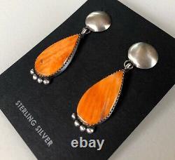 Navajo Spiny Oyster Sterling Silver Dangle Post Earrings Signed Selena Warner