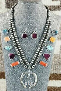 Navajo Spiny Oyster & Sterling Silver Squash Blossom and Earrings Tom Lewis