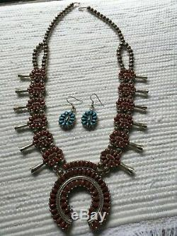 Navajo Squash Blossom Necklace/Earrings Set, Reversible Turquoise & Coral