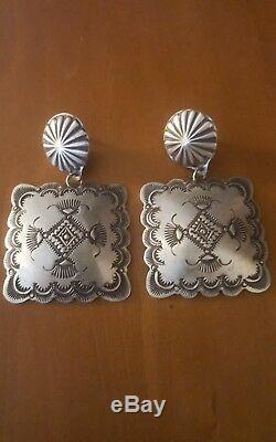 Navajo Stamped Big Concho Square Earrings By Vincent Platero Mint