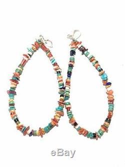 Navajo Sterling Multi Stone Beaded Dangle Hoop Earrings