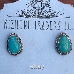 Navajo Sterling Silver And Turquoise Stud Earrings Signed