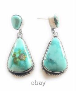 Navajo Sterling Silver Carico Lake Turquoise Dangle Earrings