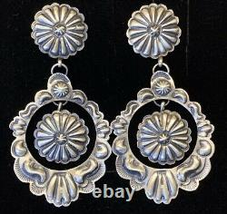 Navajo Sterling Silver Concho Earrings Eugene Charley