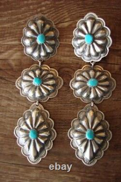 Navajo Sterling Silver Hand Stamped Turquoise Concho Post Earrings! By RL