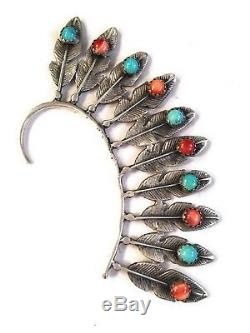 Navajo Sterling Silver & Multi Stone Feather Ear Cuff