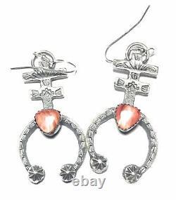 Navajo Sterling Silver Orange Spiny Oyster Naja Dangle Earrings