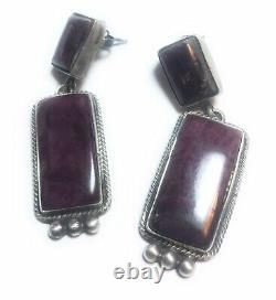 Navajo Sterling Silver & Purple Spiny Oyster Dangle Earrings