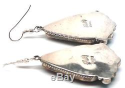 Navajo Sterling Silver Purple Spiny Oyster & Turquoise French Hook Earrings