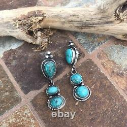 Navajo Sterling Silver & Royston Turquoise Dangle Earrings