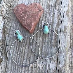 Navajo Sterling Silver Royston Turquoise Dangle Hoop Earrings Signed Elouise Kee