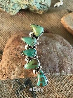 Navajo Sterling Silver & Royston Turquoise Ear Climber Signed by Joe Paul