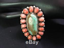 Navajo Sterling Silver Royston Turquoise Salmon Coral Cluster Ring Size 9