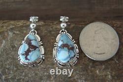 Navajo Sterling Silver Sky Blue Turquoise Post Earrings! NJ