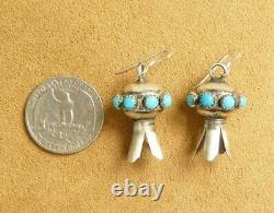 Navajo Sterling Silver Sleeping Beauty Turquoise Stone Squash Blossom Earrings