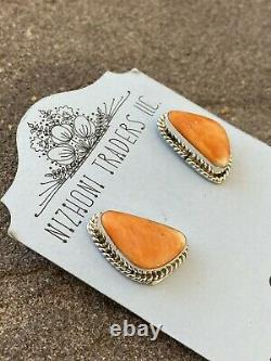 Navajo Sterling Silver & Spiny Oyster Post Earrings Signed