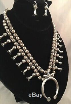 Navajo Sterling Silver Squash Blossom Necklace and Earrings