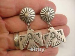 Navajo Sterling Silver Thunderbird Concho Earrings VJP Vincent Platero Signed