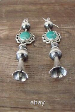 Navajo Sterling Silver Turquoise Blossom Dangle Earrings! P. Yazzie