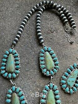 Navajo Sterling Silver Turquoise Cluster Navajo Pearls Necklace Earrings. Signed