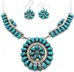 Navajo Sterling Silver Turquoise Cluster Necklace & Earring Set Rosanna Williams