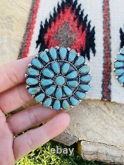 Navajo Sterling Silver & Turquoise Cluster Stud Earrings