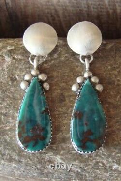 Navajo Sterling Silver Turquoise Concho Post Earrings! By Warner