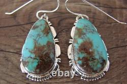 Navajo Sterling Silver Turquoise Dangle Earrings Signed