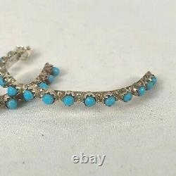 Navajo Sterling Silver Turquoise Half Hoop Earrings Native American NEW