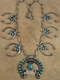 Navajo Sterling Silver & Turquoise Naja Necklace & Earrings by Hemerson Brown