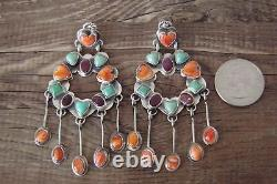 Navajo Sterling Silver Turquoise Spiny Oyster Chandelier Dangle Earrings! M