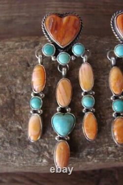 Navajo Sterling Silver Turquoise Spiny Oyster Heart Chandelier Dangle Earring