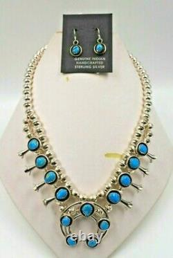 Navajo Sterling Silver Turquoise Squash Blossom Necklace Earrings Choker 18
