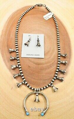 Navajo Sterling Silver Turquoise Squash Blossom Necklace Earrings Set 18 Long