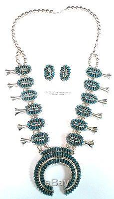 Navajo Sterling Silver Turquoise Squash Blossom Necklace Set Violet Begay