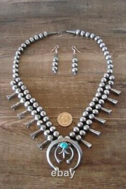 Navajo Sterling Silver Turquoise Squash Blossom Necklace and Earring Set GM