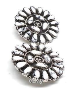 Navajo Sterling Silver White Buffalo Cluster Post Earrings -Ophelia Moses