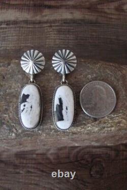 Navajo Sterling Silver White Buffalo Turquoise Post Earrings Yazzie