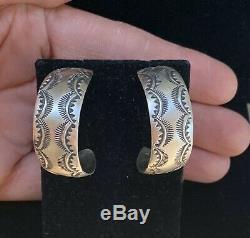 Navajo Sterling Silver Wide Hoop Earrings by Vincent Platero