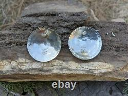 Navajo Story Teller Concave Round Earring Sterling Silver Signed Native Jewelry