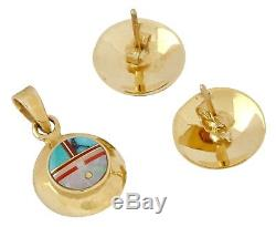 Navajo Sun Face Natural Gemstone Earring & Pendant Set 14k SOLID Yellow Gold