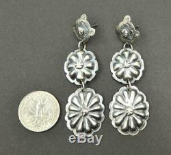 Navajo Tim Yazzie Old Style Sterling Silver Cross & Linked Concho Long Earrings