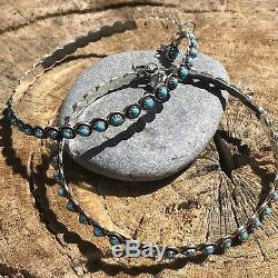 Navajo Turquoise And Sterling Silver 3 1/4 Inch Hoop Earrings