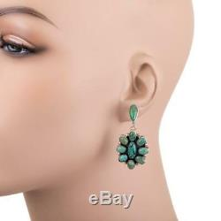 Navajo Turquoise Earrings Natura Cluster Sterling Silver Vintage Dangle PLATERO