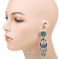 Navajo Turquoise Earrings Sterling Silver Old Pawn Style LONG Dangle Chandelier
