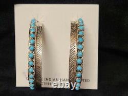 Navajo Turquoise Hoop Sterling Silver Feather Post Earrings -Aaron Davis
