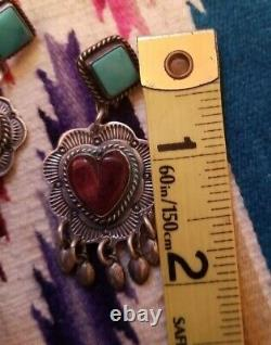 Navajo Turquoise, Purple Spiny Oyster Heart Sterling Silver Earrings
