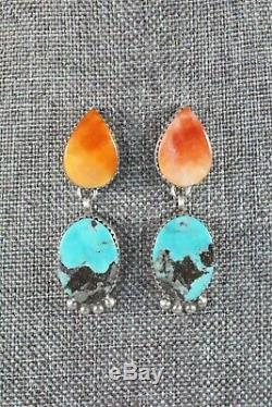 Navajo Turquoise, Spiny Oyster & Sterling Silver Earrings Selina Warner
