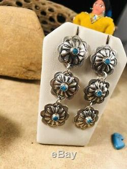 Navajo Turquoise & Sterling Silver Concho Dangle Earrings